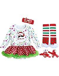 Fancyinn Bebés Navidad Trajes Traje de Fiesta Infantil Vestido de Tutu 4 Piezas Set de Ropa