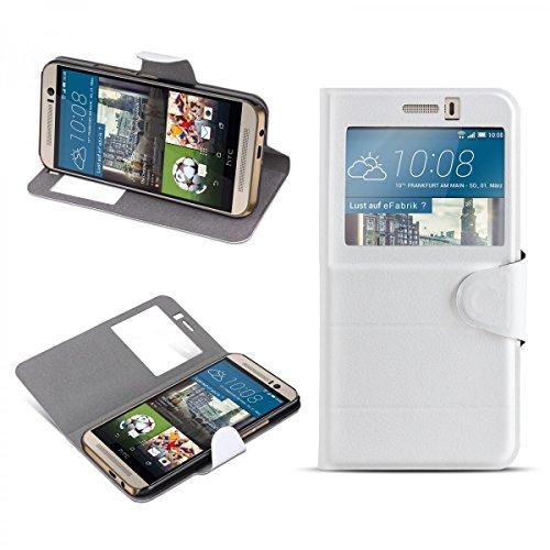 eFabrik Slim Cover für HTC One M9 und HTC One M9 Prime Camera Edition Hülle Schutztasche Tasche Schutzhülle Smartphone Zubehör Case Fenster ( KEIN S-VIEW) Leder-Optik in Weiß