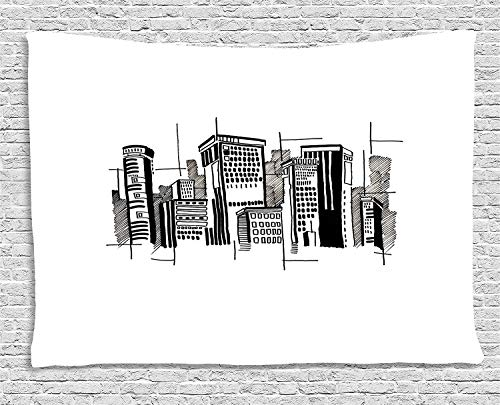 y Abstract Monochrome City Architecture High Buildings Downtown Financial District for Living Room Bedroom Dorm 80 W X 60 L Inches Unique Home Decor ()