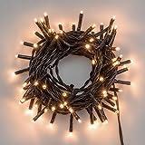 LuminalPark Lichterkette 5,6 m, 80 Mini LEDs warmweiß, grünes Kabel, 4,5V-Trafo, Innen und Außen