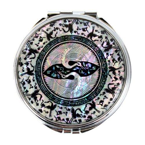 Miroir Compact Loupe Rond Nacré Style Oriental Animal