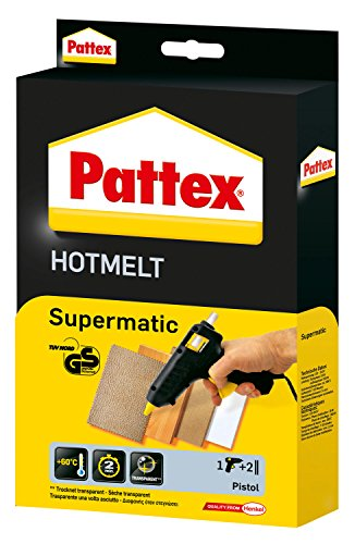 elektro kleber Pattex Hotmelt Supermatic Heißklebepistole / Klebepistole mit elektronischer Temperatursteuerung / Set mit Pattex Heißklebepistole + 2 Klebesticks, Ø 11 mm