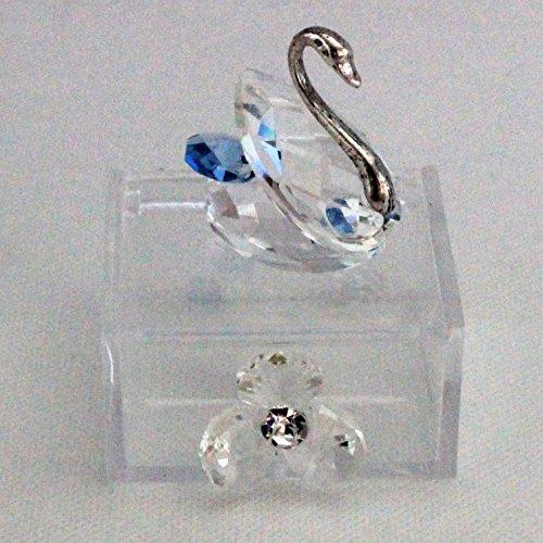 Dlm25763 scatoline in plexiglas con cigno e fiore in cristallo azzurro (kit 6 pezzi) bomboniera