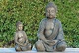 Buddha-Figur, Buddha-Skulptur aus Kunstharz, knieend, meditierend, 1 Stück, Höhe ca. 30 cm