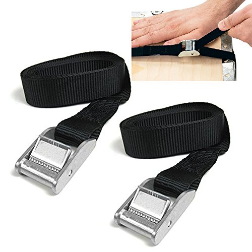 2Stück Zurrgurte mit Schnalle gut für Tie Down mit auf Kajaks, Kanus, Träger und andere Dach montiert Gepäck Cargo, schwarz (Schnalle Tie-down)