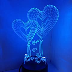 Idea Regalo - LEDMOMO 3D Illusion LED Night Light, Love Heart Shapes 7 colori che cambiano Touch Switch USB Lampada da tavolo per regali di anniversario Valentine's Day lover Gift (Dual Heart)