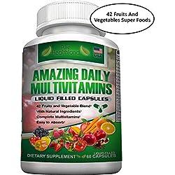 Multivitamines Pour Hommes, Femmes. Facile à Absorber. Multivitamine Naturelles à Base d'Aliments Avec un Mélange de 42 Super-Aliments à Base de Fruits et de Légumes