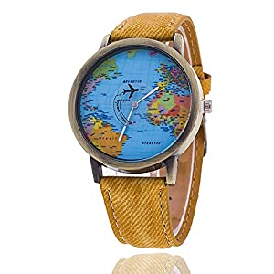 Mapa del mundo reloj Relogio Feminino Fashion mujer reloj Casual relojes de cuarzo de lujo Jeans caliente venta