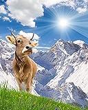 azutura Weiße Berglandschaft Fototapete Braune Kuh Tapete Küche Wohnkultur Erhältlich in 8 Größen Riesig Digital
