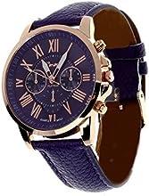 WINWINTOM Ginebra números romanos de imitación reloj de cuero Azul oscuro