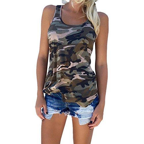 Wenyujh Femme Eté Débardeur Camouflage Sport Tank Top Lâche Shirt sans Manches Gilet Casual Vest Yoga Course camouflage