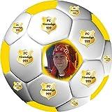 Tortenaufleger Fussball Fußball in 3D-Optik für einen tollen 3D-Effekt mit Foto & Vereinslogo Vereinswappen Rund 20 cm FB05 (Gelb)