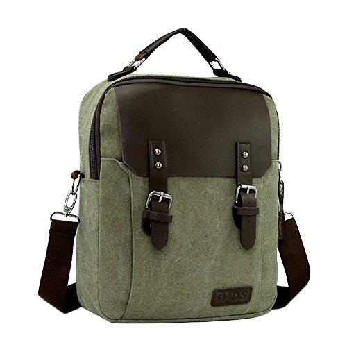 Genda 2Archer vendita caldi Funzionale casual pelle tela borsetta Ufficio Satchel (cachi) Army Green