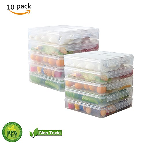 10Er Pack Mahlzeit Prep Container 3 Fach Mit Deckel Kunststoff Küche Lebensmittel Lagerung Bento Box Frische Trennung Anti-String Flavor Lunch Box Für Portion Control Portion Case Pack