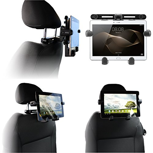 Navitech tragbar In Auto Kopfstütze / Rücksitz Schwarz Expandable feste Griff Halterung für die Dragon Touch V10 10 inch GPS Android Tablet (Dragon Android Tablet-fall)