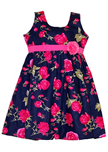 Mom's Girl Blue And Pink Floral Cotton Frock With Pink Belt And Flower (6-12 Months)