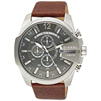 Diesel Master Chief Men's Gray Dial Leather Band Chronograph Watch - DZ4290