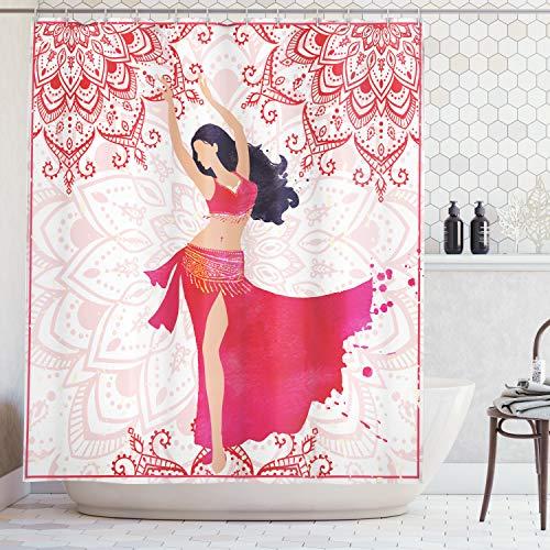 ABAKUHAUS Etnico Tenda da Doccia, Orientale Danzatrice del Ventre Costume di Danza Mandala Bohomien Adulto Fantasioso, Idrorepellente Alta Qualita' con 12 Anelli Set, 175 x 200 cm, Multicolore