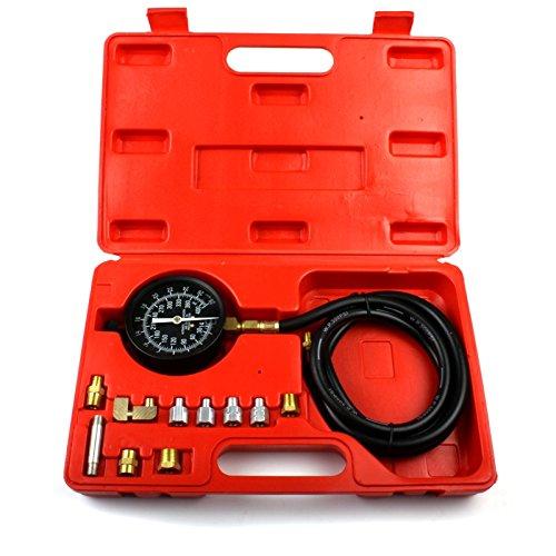 ECD Germany Medidor de presión de aceite Kit de manómetro de aceite de motor 13 piezas + Estuche