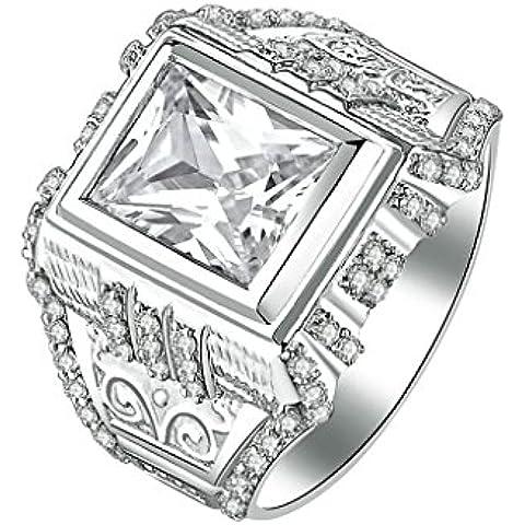 (Personalizzati Anelli)Adisaer Anelli Uomo Argento 925 Anello Fidanzamento Incisione Gratuita Piazza Anello Diamante Veins Engraved