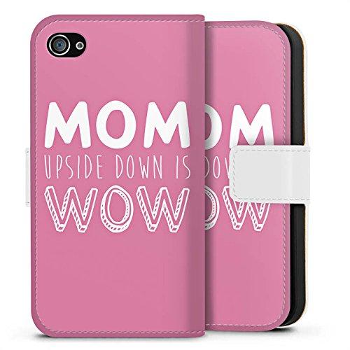 Apple iPhone X Silikon Hülle Case Schutzhülle Mom liebe spruch Sideflip Tasche weiß
