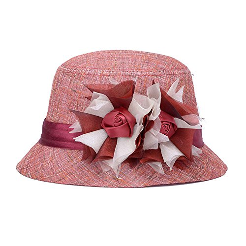 Lawevan® Femmes Linen Flower Lace Sun Bowler Hats Rose