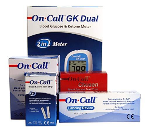 On Call Dual Glukose Ketone Meter Streifen Lanzetten & Auto Lancer