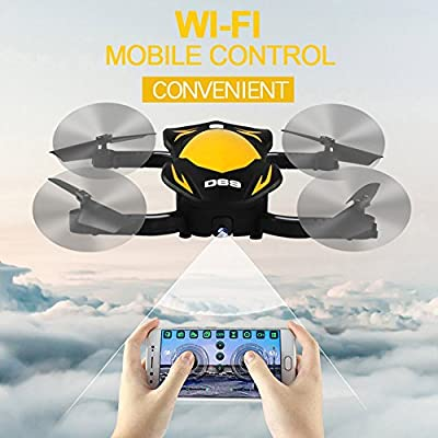 RC Drone, EBILUN Foldable Helicopter Wifi APP Control Mini Aircraft 2.4GHz USB charger 4 Axis Quadcopter with Gravity Sensor Remote Control Yellow