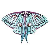 Ailes Papillon Adulte,Yannerr Femme Long Papillon Aile Cape Soft éCharpe éCharpe ChâLe Costume Nymphe (Taille: 185 * 145CM, Vert)