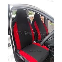 Para adaptarse a un Peugeot 308, fundas para asiento de automóvil, color gris + rojo mitras, 2frentes