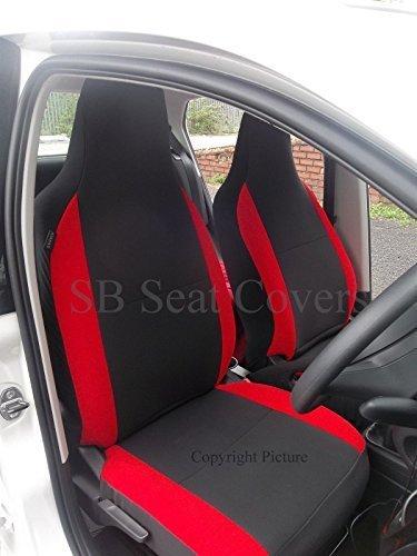 che si adatta a Toyota IQ, coprisedili per auto, antracite + rosso papavero rinforzi, 2front