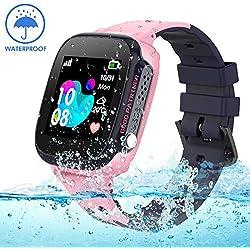 Smartwatch Enfants étanche avec traqueur LBS/GPS, Montre Intelligente Téléphone Compatible iOS Android pour Les Enfants 3-12 Filles garçons SOS Appelez la caméra à Distance Appel à Deux Voies Écran