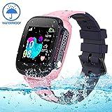 Jslai Niños Smartwatch Relojes Telefono, Impermeable LBS Tracker de Alarma SOS Infantil Relojes de Pulsera Cámara Reloj móvil Mejor Regalo para Niño niña de 3-12 años Compatible con iOS/Android(Pink)