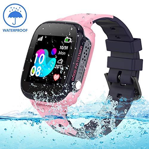 Jaybest Kinder Smartwatch IP68 imprägniern Telefon Uhr,Touch LCD Kid Smart Watch für Jungen Mädchen mit LBS Tracker SOS Anruf Kamera Anti-Lost Voice Chat(Pink) (Kids-uhren)