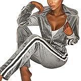 Frauen Damen Mode Trainingsanzug Streifen Zweiteilige Jogginganzug Lange Ärmel Zipper Top Lange Hose Grau Size S