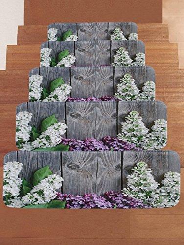 RedBeans Holz Board Lavendel Stufenmatte Treppenstufe Anti-Rutsch-Teppich, Rechteck Stufenmatten Pads, Indoor Outdoor Gummimatten für Treppe, 5Stück, Grau
