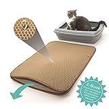 Pfotenolymp Premium Katzenklo-Vorleger große Katzenstreu-Matte als Unterlage für Katzentoilette - Katzenmatte in Beige