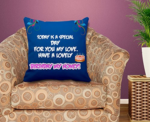 TIEDRIBBONS Birthday My Hunny Cushion CoverGift For Wife Cushion Cover(12inch x 12inch) with Filler  available at amazon for Rs.299