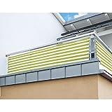 Balkon Sichtschutz nach Maß in Gelb / Weiß Meterware langlebiges & UV beständiges HDPE Gewebe mit Metallösen - Farbwahl