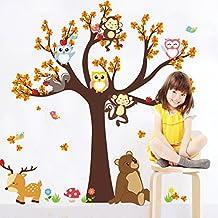 Wallpark Animal Bosque Lindo Búho Mono Oso Ciervo Falling Maple Hojas Maple Árbol Desmontable Pegatinas de Pared Etiqueta de la Pared, Niños Hogar Infantiles Dormitorio Vivero DIY Decorativas Murales