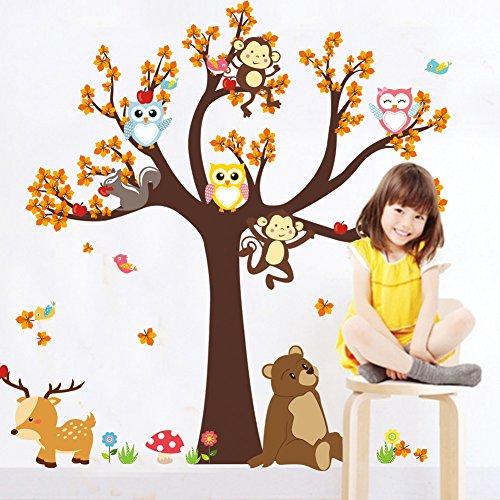 Cartoon niedliche Eule AFFE bär Hirsch wandaufkleber tapete DIY Vinyl Home wandtattoos Kinder Wohnzimmer Schlafzimmer mädchen Room Decor (Mädchen Decor Room)