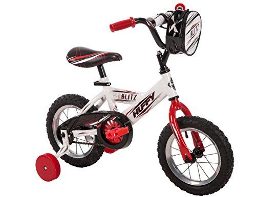 Huffy 12Zoll Blitz Jungen Bike, ideal für Kinder im Alter von 3–5und Rider Höhe 94–106,7cm, weiß glänzend, abnehmbare Tasche für 5Spielzeug Aufbewahrung, einfache Montage, Stil 62446