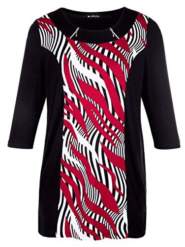 Damen Longshirt mit streckendem Druckeinsatz by m. collection Schwarz/Rot/Weiß