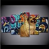 ZKLIB Mur Art Toile Affiche Abstraite 5 Pièces Graffiti Cheveux Courts Chat Brun Décoration De Maison Peinture Modulaire HD Imprimer Photos...