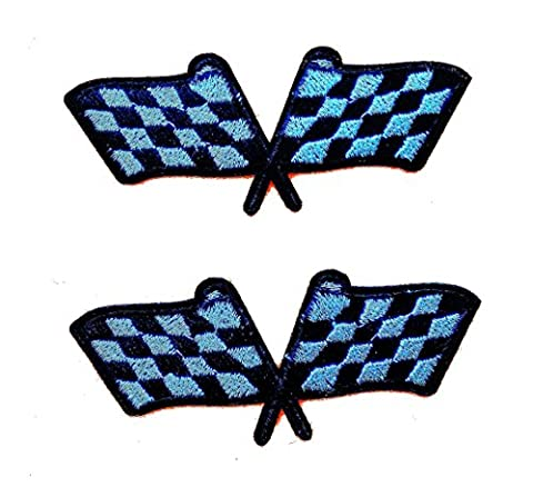 Checkered Flags Grand Prix Set Iron on Sew on Embroidered Badge Applique Motif (Bandiera A Scacchi Set)