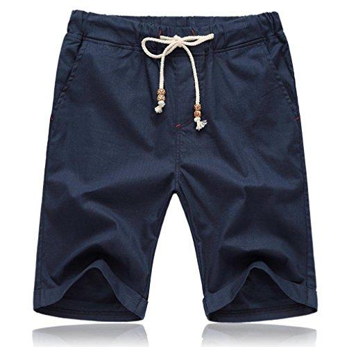 (OSYARD Männer Sommer Leinen Solide Herren Chino Shorts,Strand Casual Elastische Taille Klassische Shorts, Kurze Hose mit Stretch-Anteil Regular Fit)