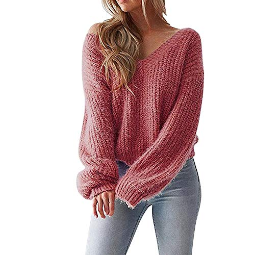 Women V-neck Tied Bandwidth Loose Sweater Top,Mamum Sexy Women V-Neck Sweater Casual Leak Back Knitted Loose Long Sleeve Pullover 14