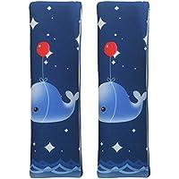 MUROAD 2 Piezas Almohadillas protectoras para cinturón de seguridad,Estilo de dibujos animados de Cinturón acolchado para adultos y niños,color azul(Ballena)