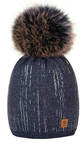 4sold Damen Wurm Winter Style Beanie Strickmütze Mütze mit Fellbommel Bommelmütze Hat Ski Snowboard Pelz Bommel Pompon Kreis Regen Crystals (Dunkelgrau)