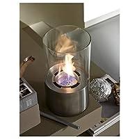 Caminetto a bioetanolo da tavolo, con base in acciaio satinato e vetro tondo temperato. Bruciatore rotondo da 0.5 litri e strumento di controllo della fiamma. Con l'acquisto del caminetto viene fornito in omaggio uno strumento di controllo d...